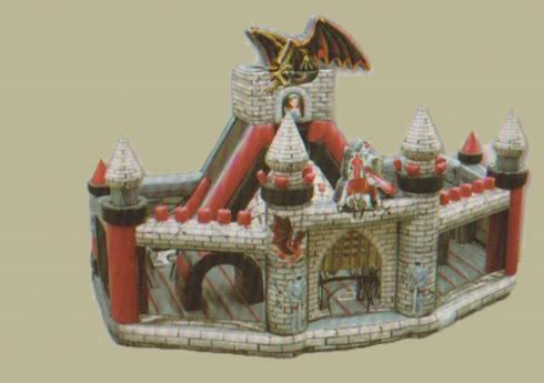 chevalier dragon : grand château gonflable combi